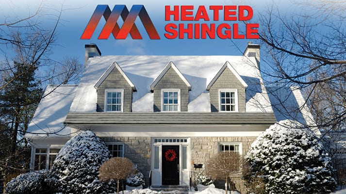 heated shingle installed on house